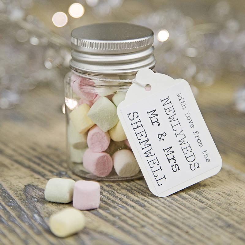personalised wedding favour sweetie jar by 3 blonde bears