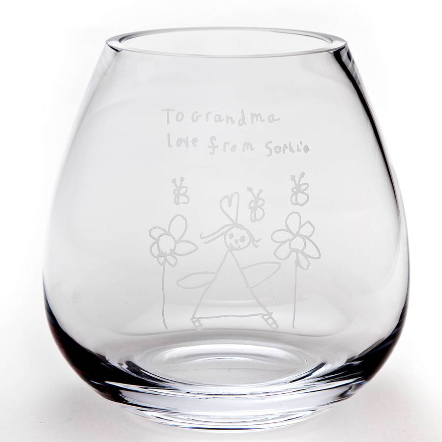 personalised engraved glass flower