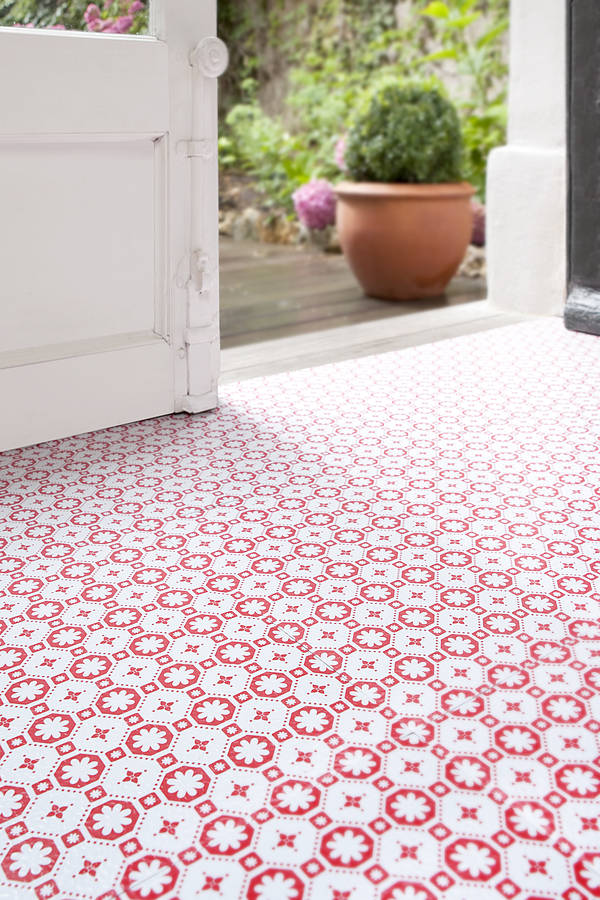 Flooring Fixes Removable Vinyl Flooring in Red and White Pattern