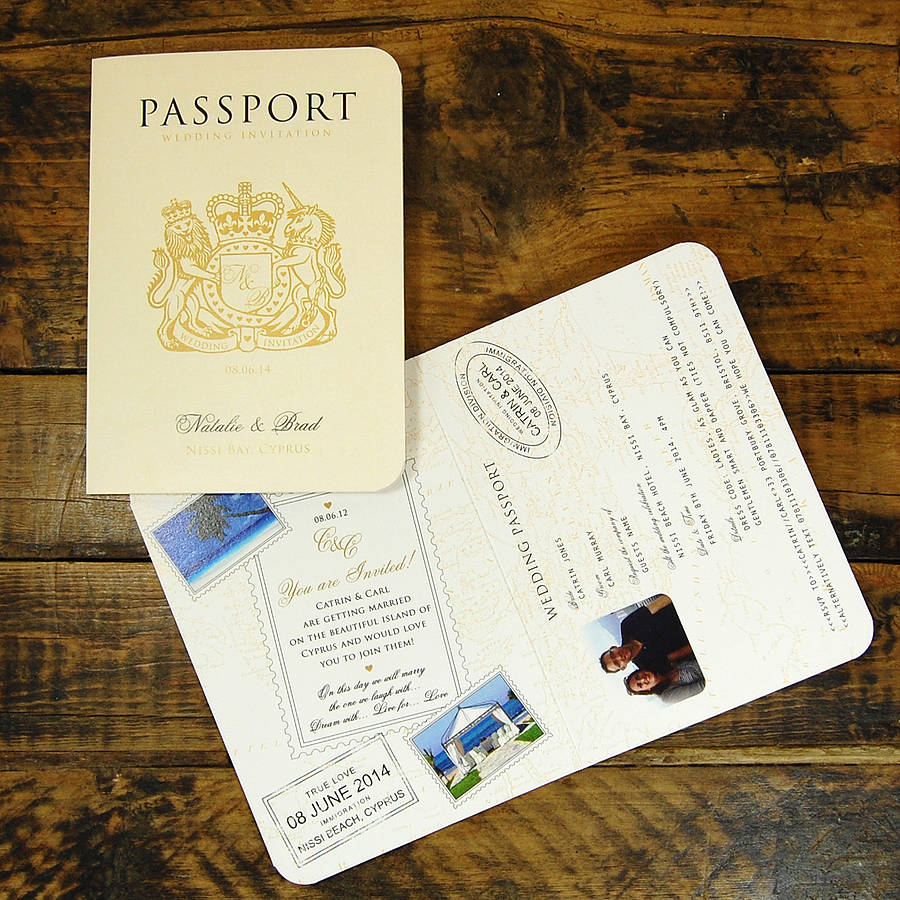 Passport To Love Travel Card Style Wedding Invitation By