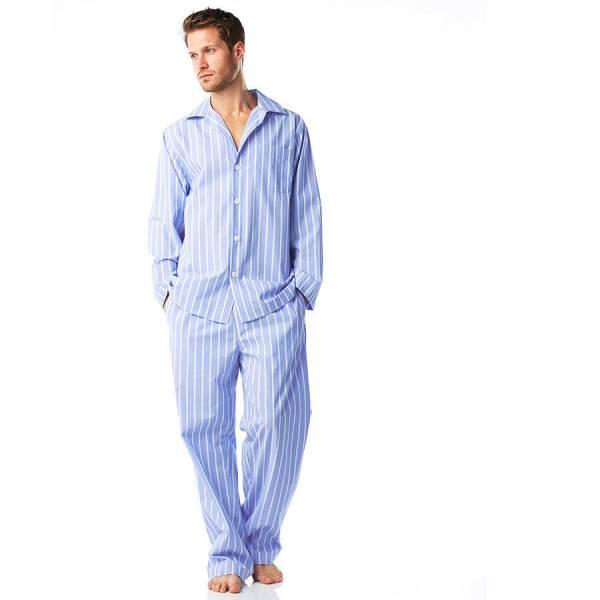 Men' Cotton Blue And White Stripe Pyjamas Pj Pan