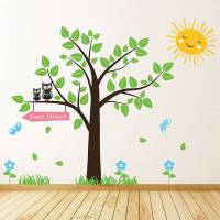 tree with owls and butterflies wall stickers by parkins ...