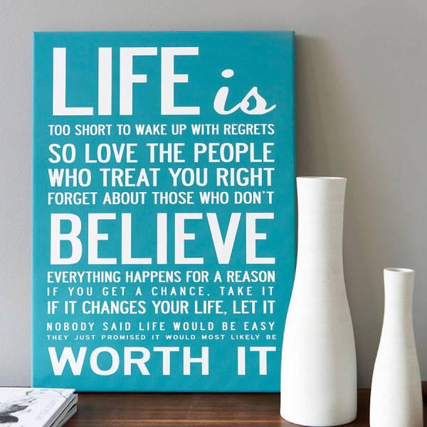 'life Short' Quote Print Canvas Love Design