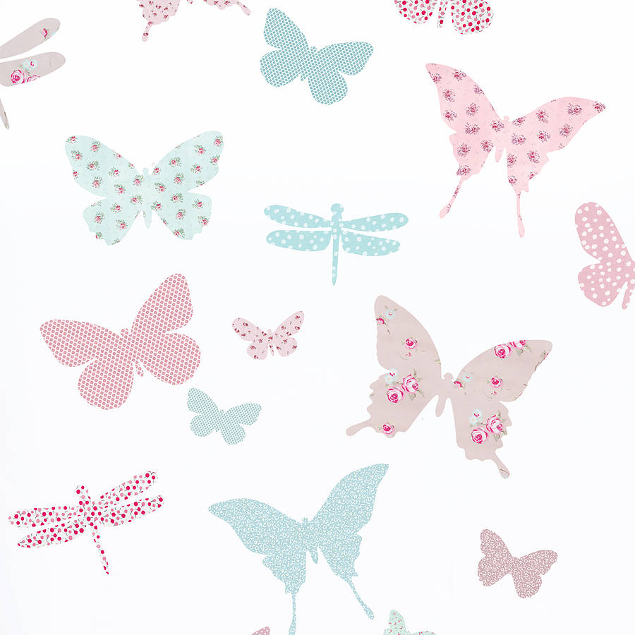 Girls Bedroom Wallpaper Border Vintage Floral Butterfly Fabric Wall Stickers By Koko Kids