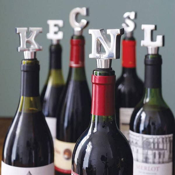 alphabet wine bottle stopper by letteroom
