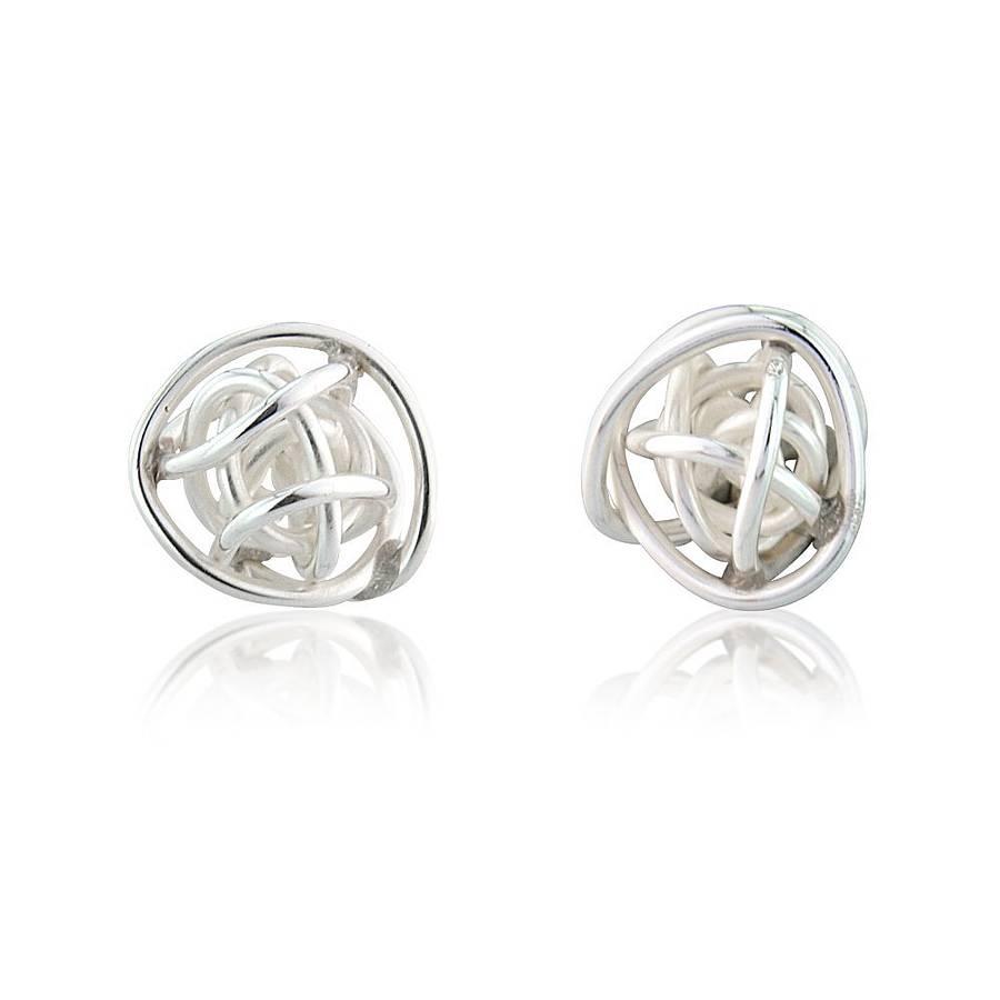 bound sphere silver stud earrings by anne reeves jewellery