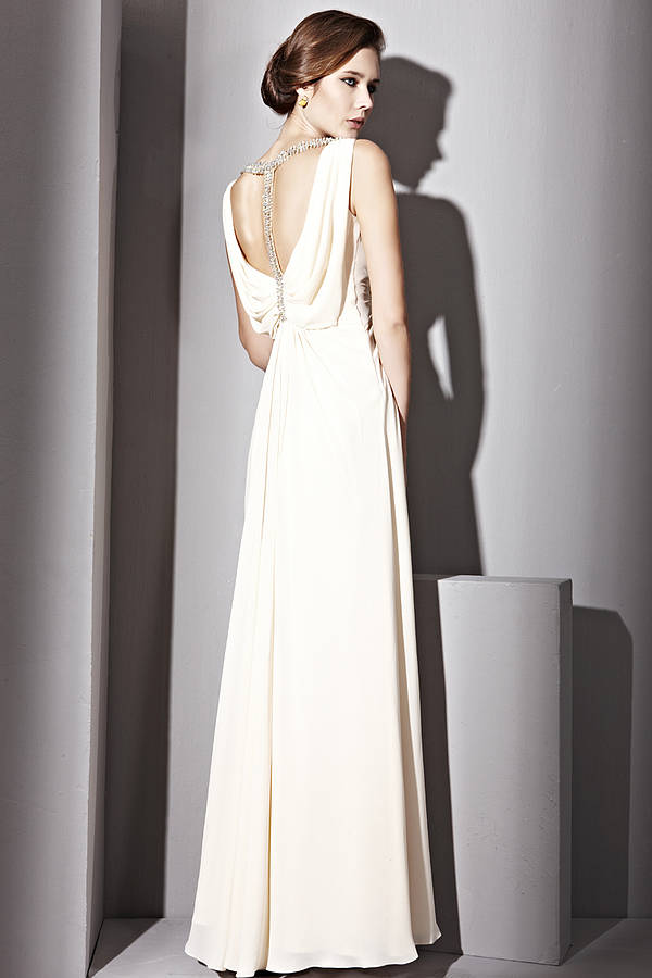 Jeweled Cowl Neck Wedding Dress By Elliot Claire London