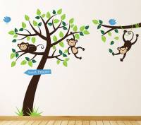 monkey tree and branch vine wall stickers by parkins ...