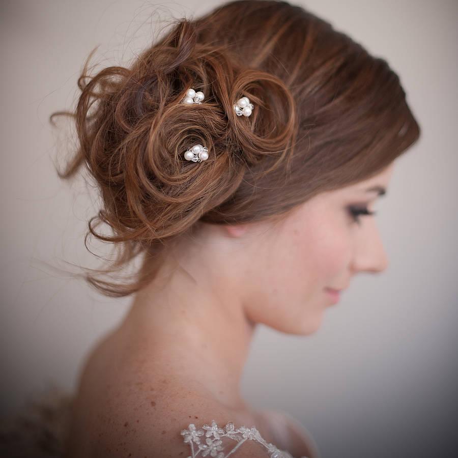 set of pearl blossom wedding hair pins
