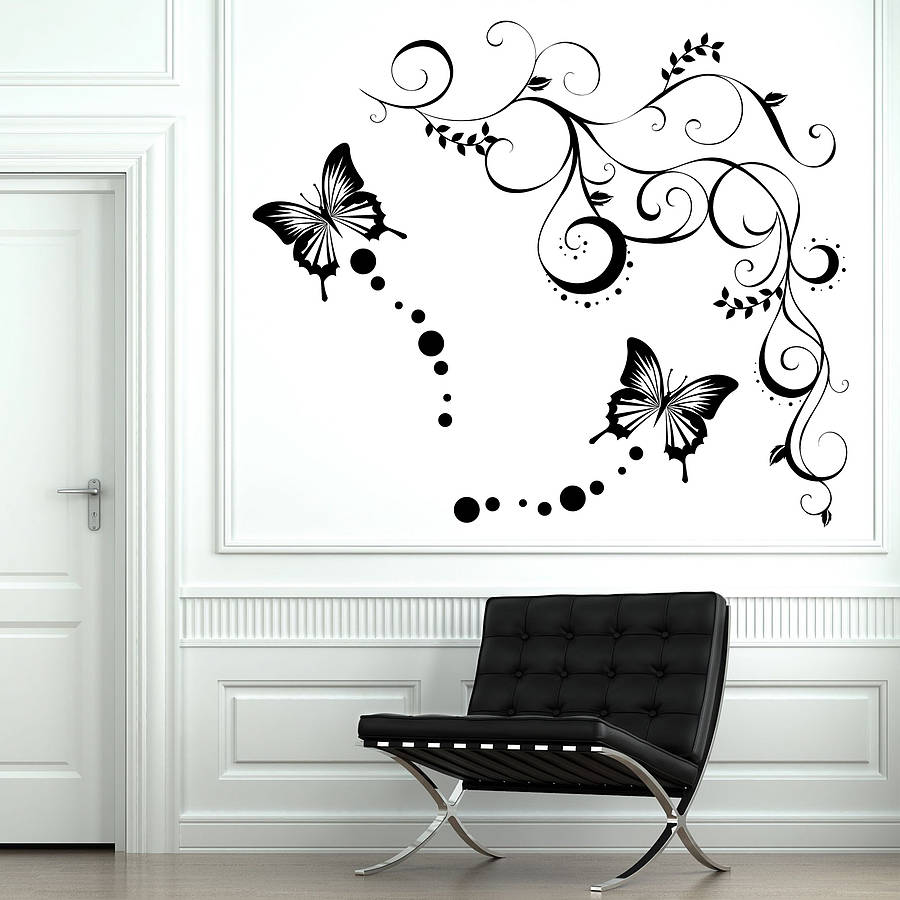 butterfly vine wall stickers by parkins interiors  notonthehighstreetcom