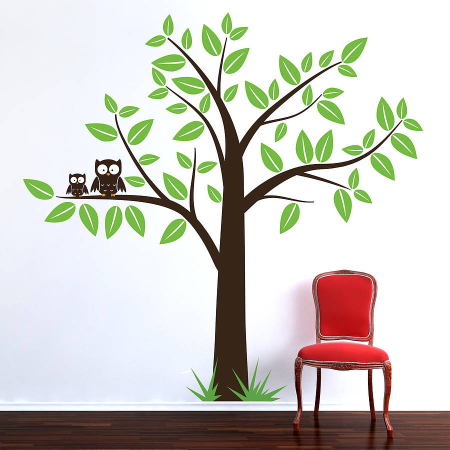 tree with owls wall sticker by parkins interiors