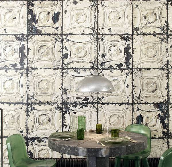 Merci Brooklyn Tin Tiles Wallpaper 01 Lime Lace