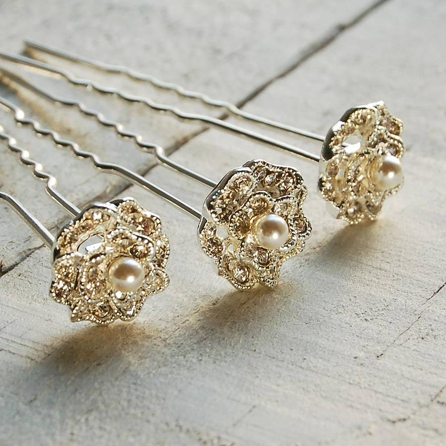 Set Of Three Lace Rose Hair Pins By Highland Angel