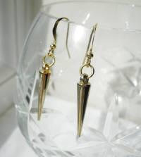 gold spike earrings by la belle et la bete ...