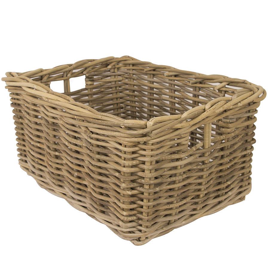 washed grey wicker multi purpose storage basket by dibor