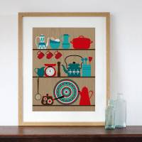 retro kitchen shelves art print by natalie singh ...
