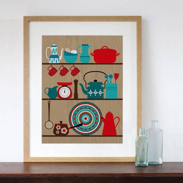 Retro Kitchen Shelves Art Print Natalie Singh