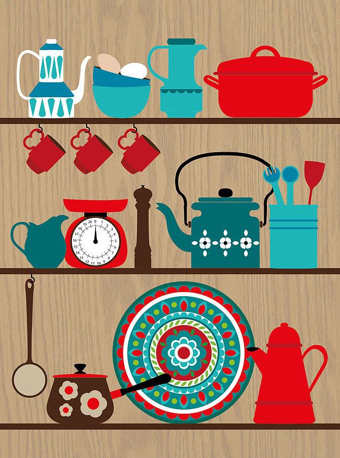 kitchen art prints hoods retro shelves print by natalie singh