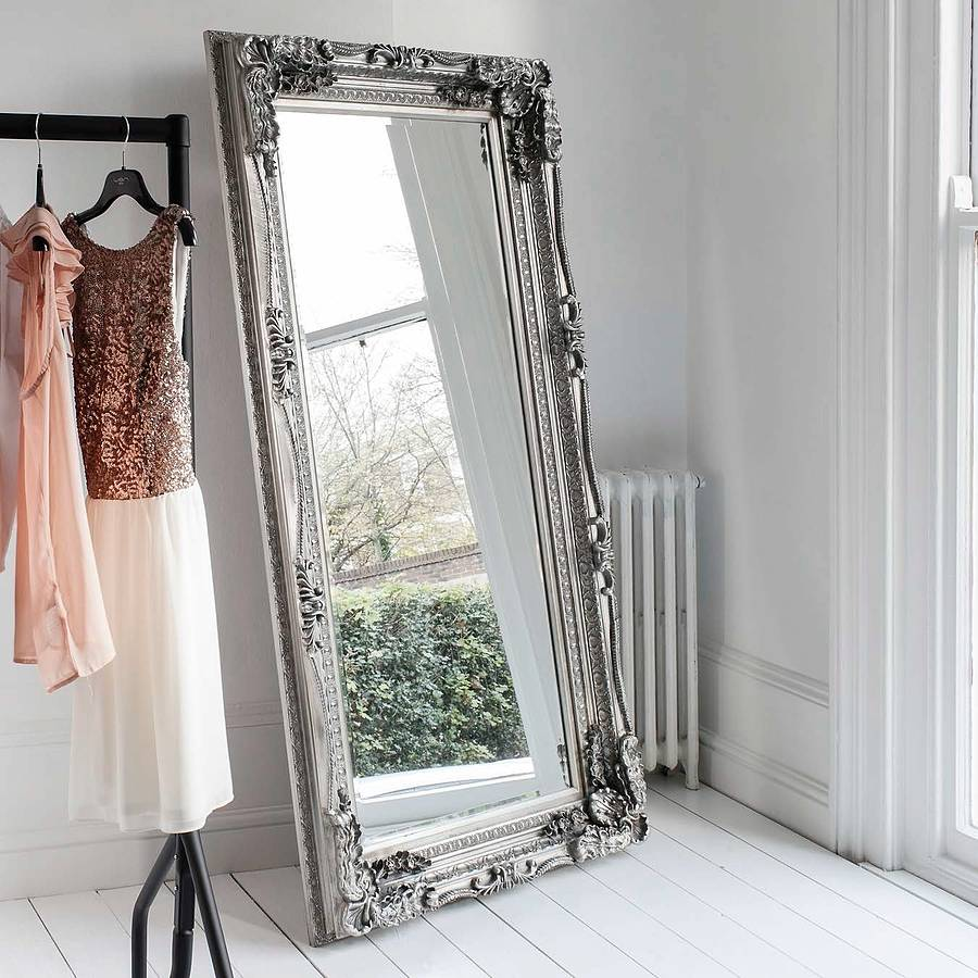 cream carved floor standing mirror by primrose & plum