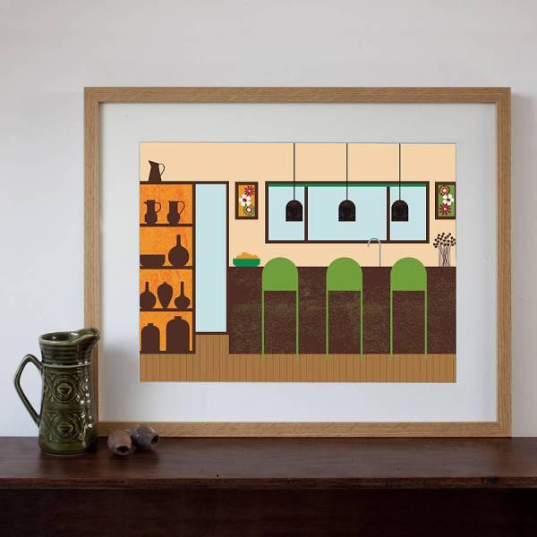 Retro Kitchen Art Print Natalie Singh