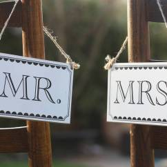 Vintage Wood High Chair Grey Wingback Mr And Mrs Wooden Signs By The Wedding Of My Dreams   Notonthehighstreet.com