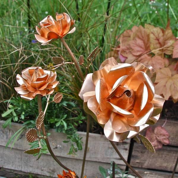 Copper Garden Rose Sculpture Set Of Three London