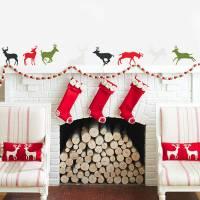 'christmas reindeer' vinyl wall stickers by oakdene ...