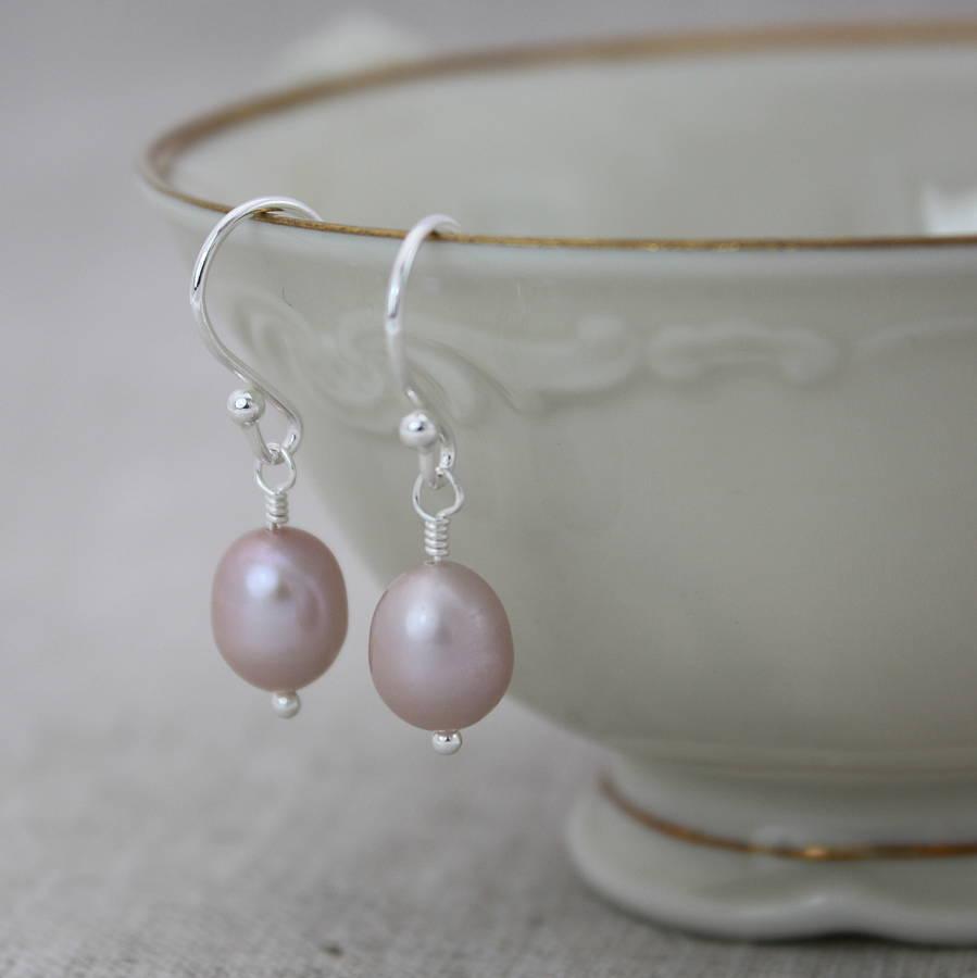 pearl drop earrings in pale pink by claudette worters