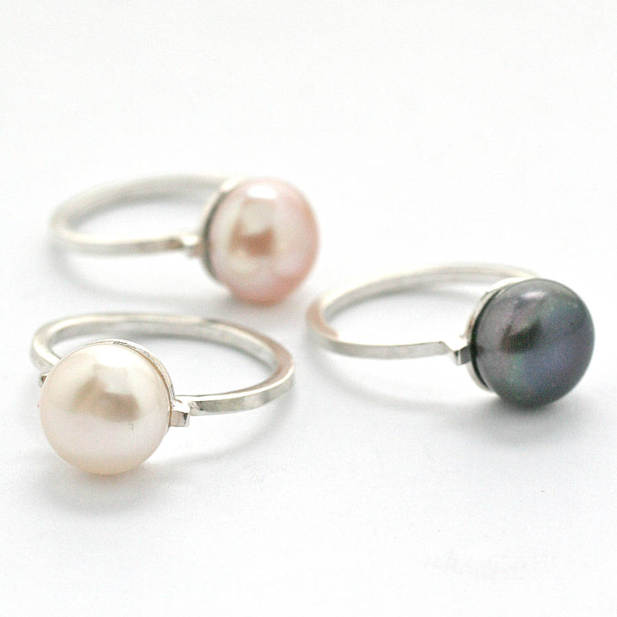pearl cocktail ring by louy magroos  notonthehighstreetcom