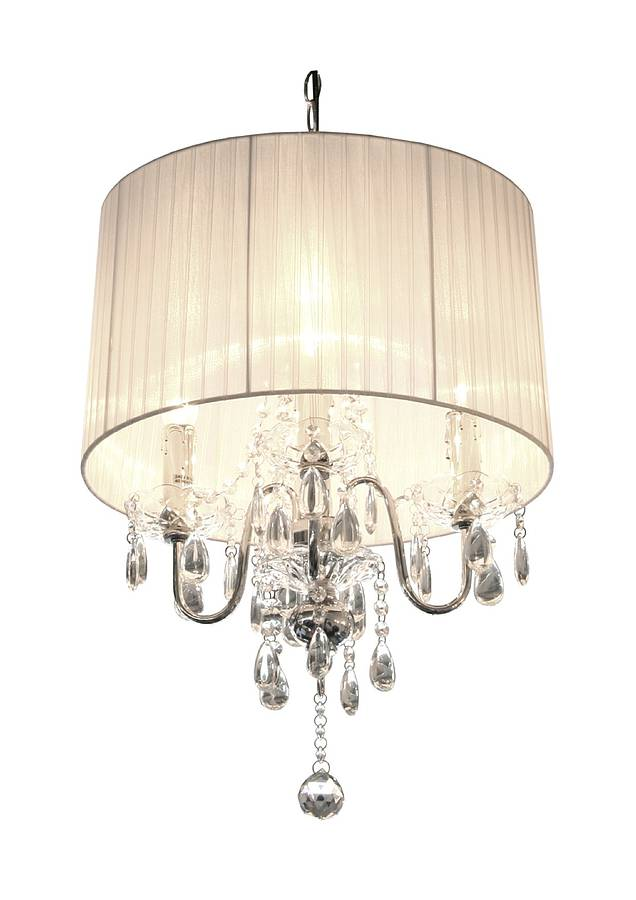 Shaded Chandelier With Crystal Drops