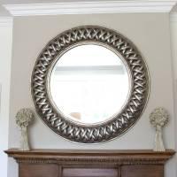 grand champagne silver weave round mirror by decorative ...
