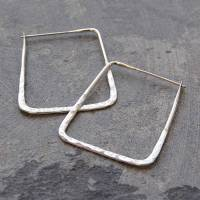 battered large square sterling silver hoops by otis jaxon ...