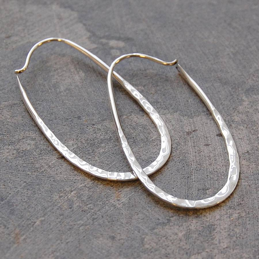 sterling silver oval hoop earrings by otis jaxon silver