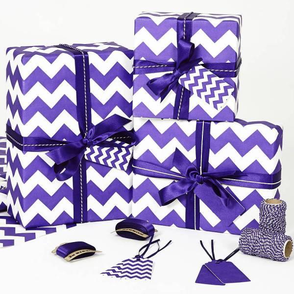 Recycled Purple Chevron White Wrapping Paper Sophia Victoria Joy