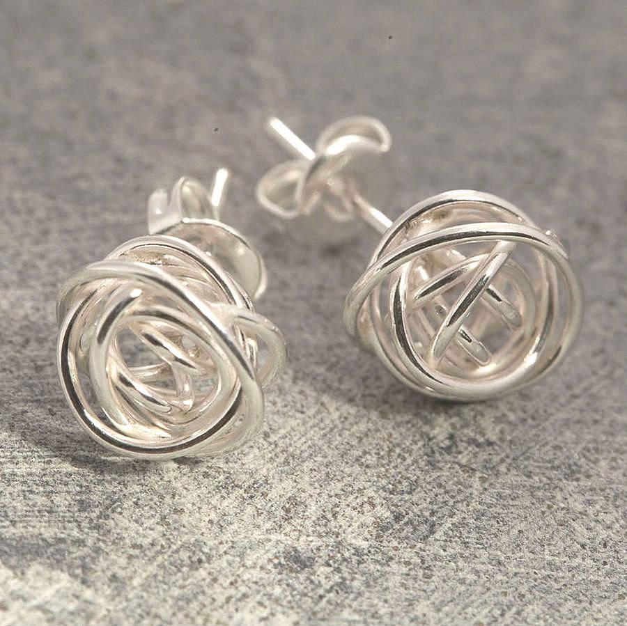 nest stud sterling silver earrings by otis jaxon silver