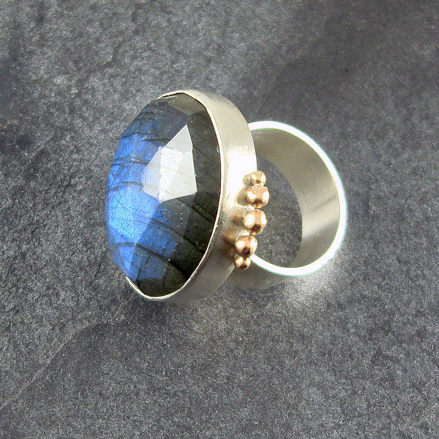 labradorite ring in silver and gold by camali design
