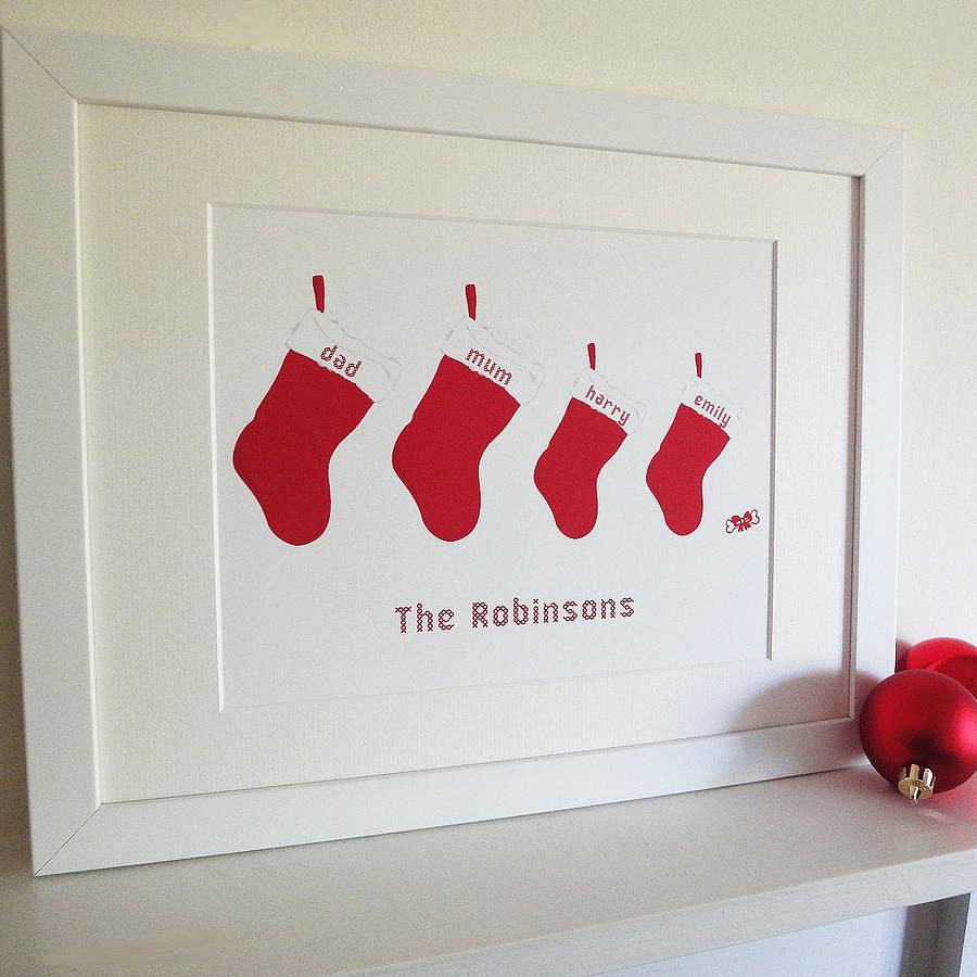 Personalised Christmas Stocking Print By White Hanami
