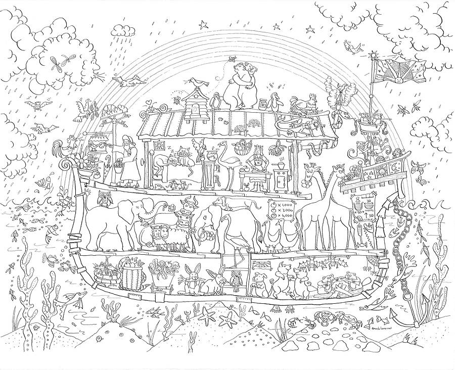 noah's ark colouring in poster by really giant posters