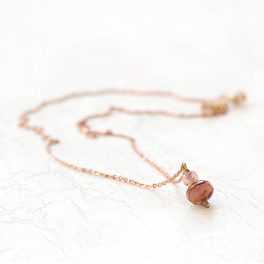 rose gold necklace and earring set by artique boutique