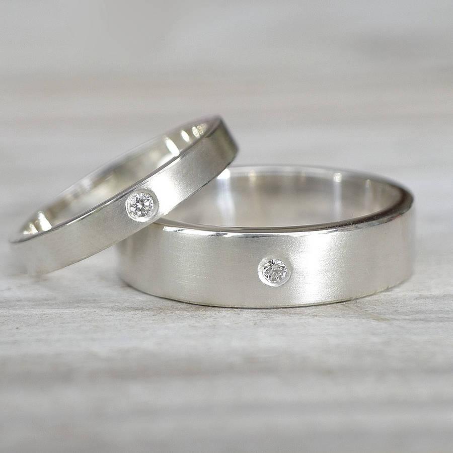 matching diamond silver wedding rings by lilia nash