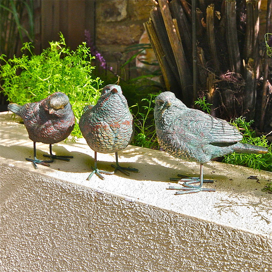 three little bird garden sculptures by london garden