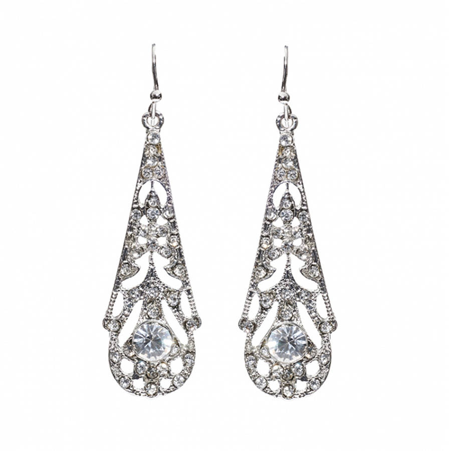 ophelia crystal 1920s style filigree earrings by anusha