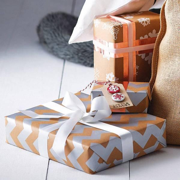 metallic chevron christmas gift wrap set by sophia ...