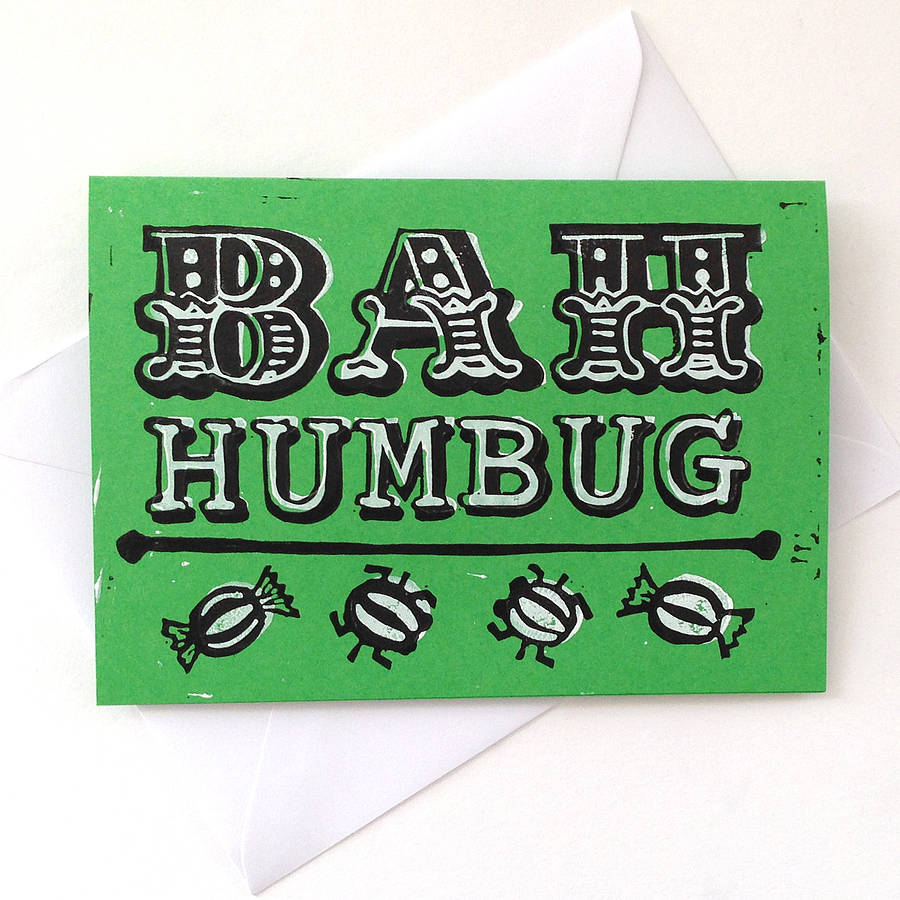 Bah Humbug Hand Printed Funny Christmas Card By Woah There