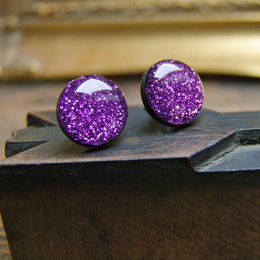 purple glitter stud earrings by home & glory