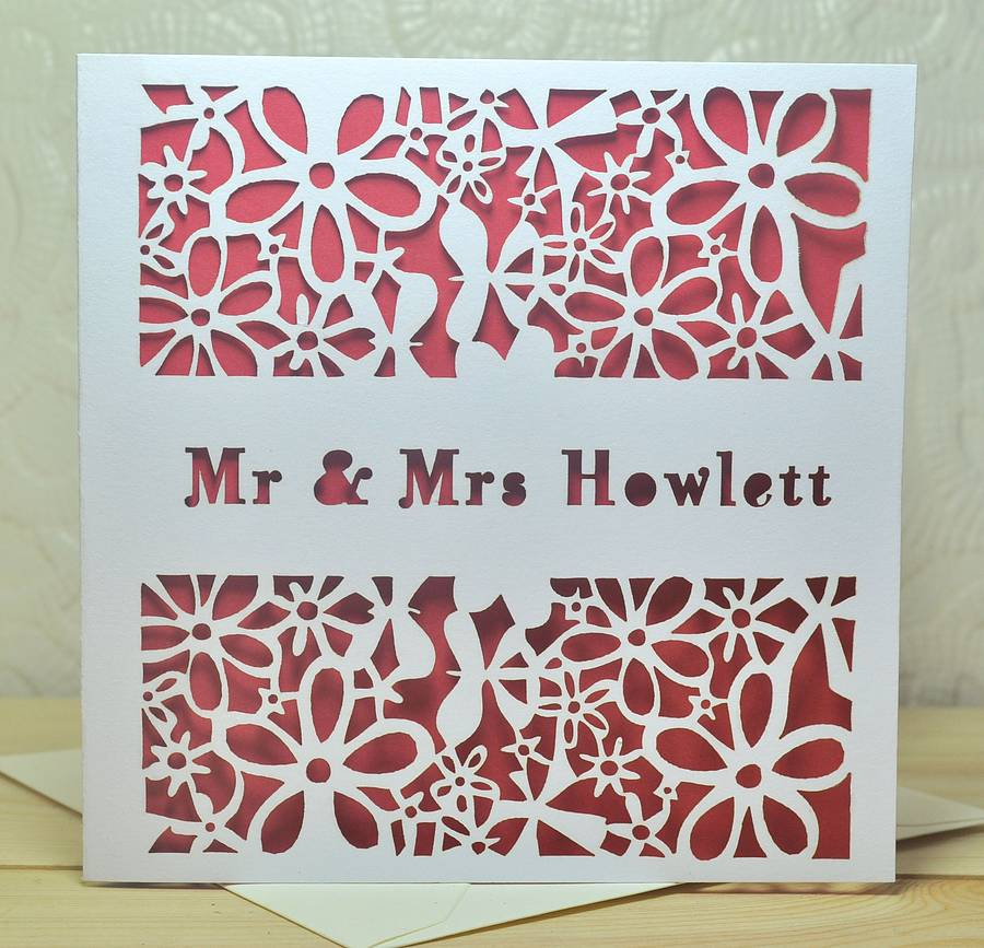 Personalised Laser Cut Wedding Card By Sweet Pea Design