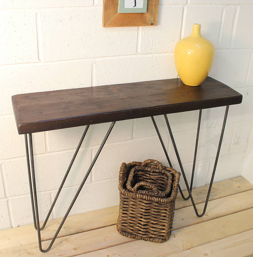 industrial wood and steel console table by ma design  notonthehighstreetcom