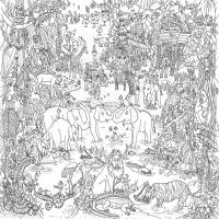 jungle safari colouring in poster by really giant posters ...