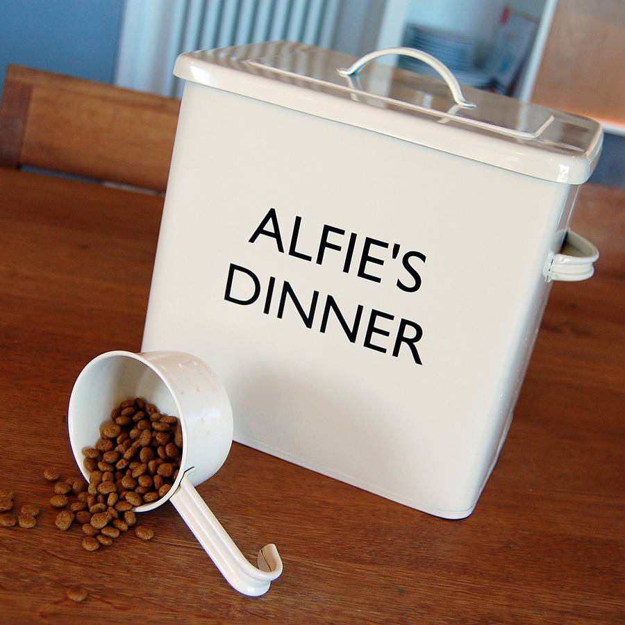 personalised pet food storage tin by adra