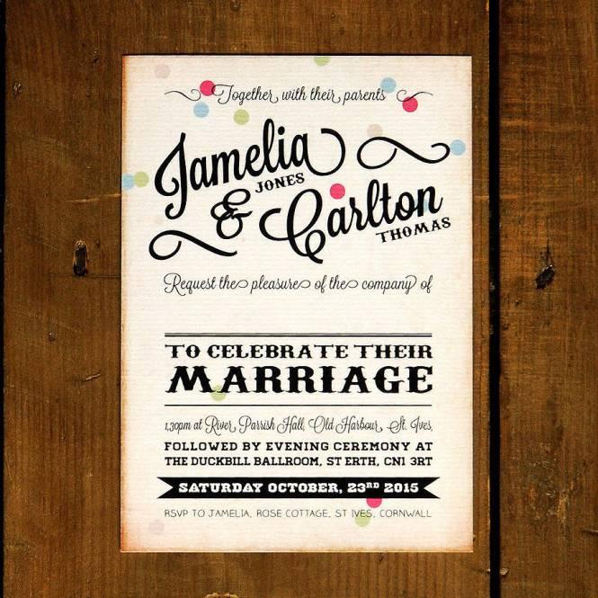 Vintage Confetti Wedding Invitation